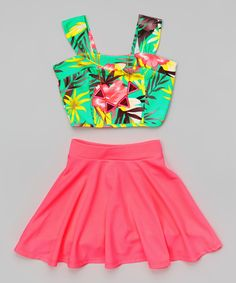 Look what I found on #zulily! Just Kids Mint Floral Crop Top Set - Girls by Just Kids #zulilyfinds