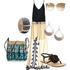 Love the long skirt !!, created by thebeautyinsiders on Polyvore