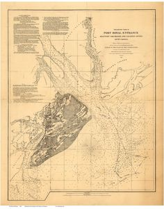 port royal entrance sc 1862 map hilton head island coast survey reprint