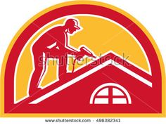 Illustration of a roofer construction worker wearing hat working on roof with hand drill viewed from the side set inside half circle done in retro style.  #roofer #retro #illustration