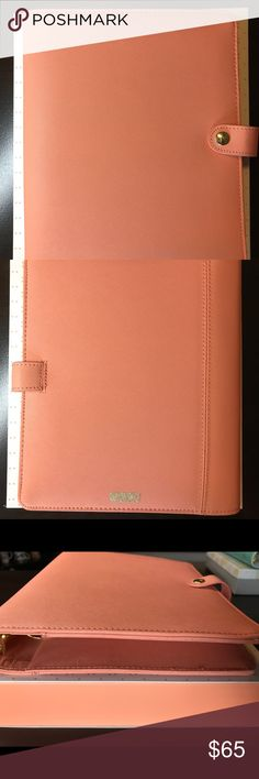 Kikki k A5 Peach Large Used. Very good condition. Small marks to bottom from shelf (pictured). Rings tight. Binder only. Kikki K Accessories