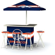 NFL Denver Broncos Portable Bar with Stools