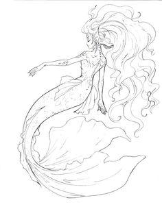 Mermaid line art by sharonearth.deviantart.com on @DeviantArt