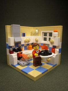~ Lego Mocs Holidays ~ by Walter Benson - Blackened Turkey Legos, Lego Kitchen, Minecraft Lego, Modele Lego, Van Lego, Lego Furniture, Lego Boards, Lego Pictures, Lego Modular