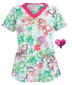 UA Splashy Butterflies White Print Scrub Top Style # UA965YBW  #uniformadvantage #uascrubs #adayinscrubs #scrubs #printscrubs