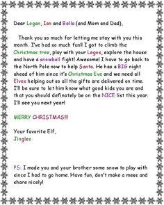 Elf GoodBye Letter In Kristen Itc Font  Elf On A Shelf
