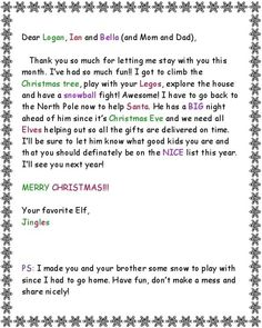 day 25: get crafty/ Elf on the Shelf good-bye letter, a note from Santa, gift for dad « ipinterest