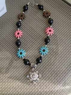 Turquoise Beads with Rhinestone Concho by TexasRedheadBoutique