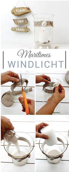 Schritt für Schritt Anleitung für dieses stimmungsvolle Windlicht im maritimen Look. Ein einfaches und preiswertes DIY.