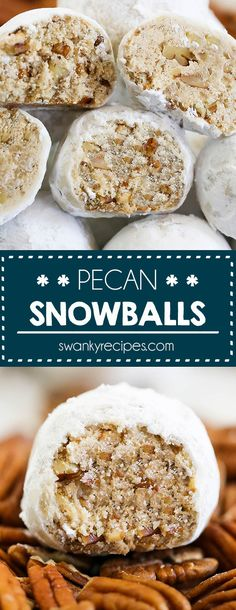 Cookies Pecan Snowballs - This easy pecan snowball cookie recipe. A holiday classic that deserves a spot on your holiday cookie tray! A new improved version! Buttery vanilla shortbread cookies with ground pecans the whole family will love! Holiday Cookie Recipes, Holiday Baking, Christmas Baking, Pecan Cookie Recipes, Easy Holiday Cookies, Christmas Sweets, Christmas Christmas, Wedding Cookie Recipes, Russian Christmas Food