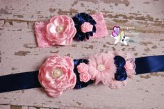 Pink Navy Blue Sash Flower Headband Clip Set by Sariyanasbowtique