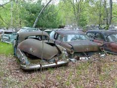 Abandoned cars in forgotten Michigan junkyard, wish I could restore them all.