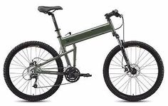 The Paratrooper is one of the many folding mountain bikes that Montague offers. Its patented folding design was developed and designed to allow airborne soldiers to drop out of airplanes and helicopte