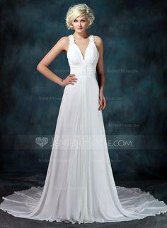 658956dbbb1c  US  173.24  A-Line Princess V-neck Chapel Train Chiffon Wedding Dress With  Ruffle Beading Appliques Lace - JenJenHouse