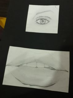Basic drawing of lip and eye.  Hb pencil. Tried. I know it's not that good