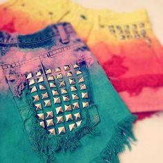 Studded tie die shorts