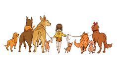 Dog Walker by Lelpel on DeviantArt Dog Walking Flyer, Dog Walking Business, Dog Illustration, Cartoon Dog, Dog Quotes, Animal Sketches, Dog Art, Dog Friends, Cute Art