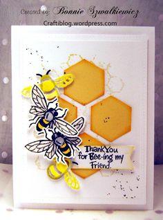 Hexagon Cards, Craft Desk, Bee Cards, Creative Art, Bees, Honey, Happy Birthday, Sketches, Crafty