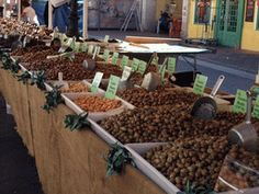 Market stall with olives at the Cours Saleya Flower Market, at Vieux-Nice