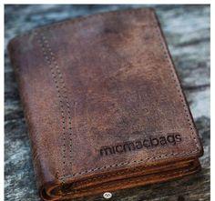723f7bf3e89 Stoere portemonnee met 'versleten' leer van Micmacbags. #leer #leather  #brown