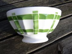 Vintage Large French cafe au lait bowl ribbed by MyNiftyBrocante