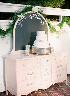 Ashley and Kelsey's romantic, vintage themed wedding at Cypress Grove Estate House is overflowing with antique details that will surely inspire. Vintage Wedding Theme, Chic Wedding, Shabby Chic, Big Party, Rustic Theme, Chalkboard Paint, Cake Table, Wedding Cakes, Wedding Decorations