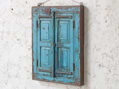 Lovely Scaramanga shuttered blue wall mirror repurposed from an antique window frame and shutters. The mirror has a unique distressed blue shabby chic surface finish. Antique Window Frames, Antique Windows, Rustic Mirrors, Vintage Mirrors, Vintage Windows, Blue Shabby Chic, Shabby Chic Mirror, Vintage Shabby Chic, Shabby Chic Homes