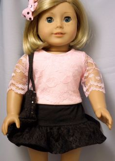 American Girl Doll Clothes Pink and Black by buttonandbowboutique, $16.00