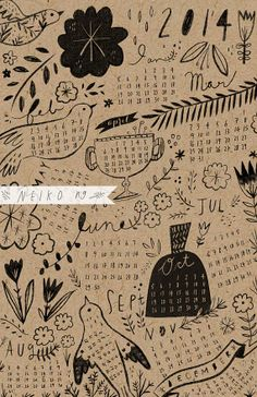 2014 Calendar 11X17 by PaperPlants on Etsy