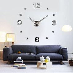 Modern Mute DIY Large Wall Clock 3D Sticker Home Office Decor Gift (Silver)…