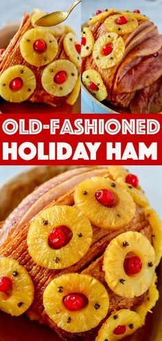 This Old-Fashioned Holiday Ham is the perfect Baked Ham Recipe. Spiral sliced ham glazed with brown sugar and pineapple juice, and decorated with colorful pineapple slices and cherries. Baked Ham Recipe You won't believe Baked Ham With Pineapple, Pineapple Recipes, Pineapple Slices, Pineapple Ham Glaze, Ham Brown Sugar Pineapple, Best Thanksgiving Appetizers, Thanksgiving 2020, Holiday Appetizers, Ham Glaze Brown Sugar