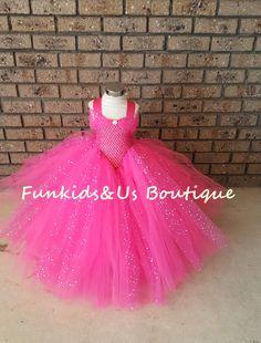 Hot Pink Gown Tutu Dress  Stunning Hot by FunkidsandUsBoutique