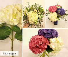 Hydrangeas are great showy flowers and make flower arrangements diy flower centerpieces, white bouquet, simple hydrangea centerpiece