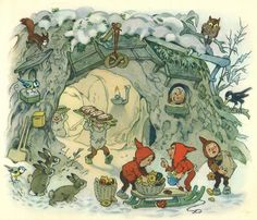 Alenquerensis: Natal com Fritz Baumgarten, Ilustrador Alemão – - Christmas with Fritz Baumgarten, German Illustrator – Art And Illustration, Woodland Creatures, Magical Creatures, Gnome Pictures, Baumgarten, Elves And Fairies, Faeries, Illustrators, Fairy Tales