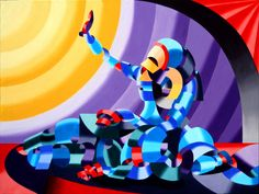 """Mark Webster - Jesse and Shandra - Abstract Figurative Oil Painting by Mark Webster Oil ~ 36"""" x 48"""""""