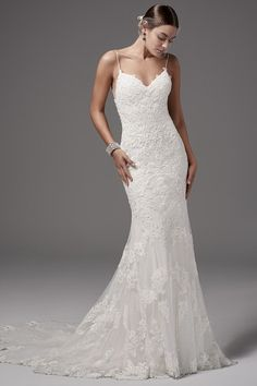 Kleinfeld Bridal carries the largest selection of couture wedding dresses, designer exclusives, plus size wedding gowns, headpieces and accessories. Wedding Dresses With Straps, Fit And Flare Wedding Dress, Perfect Wedding Dress, Dream Wedding Dresses, Designer Wedding Dresses, Form Fitting Wedding Dresses, Fitted Lace Wedding Dress, Lace Mermaid Wedding Dress, Gown Wedding