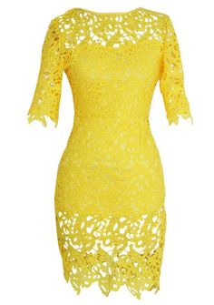 Sexy Yellow Round Neck 1/2 Sleeve Spliced Hollow Out Lace Dress For Women