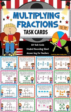 In this set are sixty (60) task cards which you can use to discuss or review the concepts on how to multiply fractions with your students.