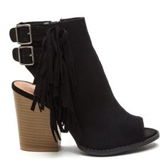 "Fringe worthy chunky faux suede booties Open-toe faux suede booties feature a cut-out at the heel, a panel of fringe down one side, two adjustable buckles around the ankle, and an extra chunky contrast heel with a wood grain finish. Shoes are finished with a ridged sole and a side zipper for easy on and off.  Shaft height: 3.5"" Heel height: 4"" slightly padded faux leather insole Shoes Ankle Boots & Booties"