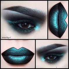 Lips - @lasplashcosmetics Venom Liquid Lipstick and @sugarpill Lumi Eyeshadow on top. Eyes - @meltcosmetics Dark Matter Eyeshadow and @sugarpill Lumi Eyeshadow. Lashes - @shopvioletvoss Kitten Mink Lashes. Brows - @sigmabeauty Black Gel Liner and @sugarpill Lumi Eyeshadow. Brushes - @sigmabeauty brushes