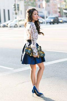 Butterflies :: Sheer Silk & Cobalt Blue Details ( Skirts) - for more fashion visit http://pinterest.com/franpestel/fashion-rien-que-de-la-mode/