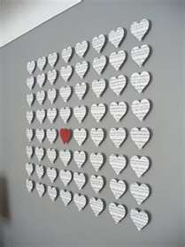 little love notes, cut and pinned.. what beautiful wall art for a master bedroom!