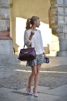 make life easier, knit sweaters, bag, street styles, animal prints, skater skirts, fashion easier, cozy sweaters, snow leopard