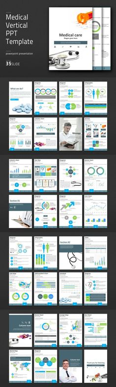Medical Vertical PPT Template. Medical Infographic. $41.00
