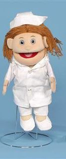 Just what the doctor needed! This gentle woman puppet is fully dressed in her nurses uniform. Her white pocketed coat, cotton pants, and comfortable nurses sneakers are very realistic. Her yarn hair is brown.
