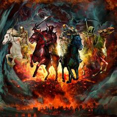 The Four Horsemen of the Apocalypse, described in the Book of Revelation of the New Testament, are commonly seen as symbolizing War, Famine, Conquest, and Death.