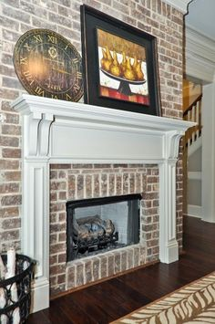 white washed bricks for fireplace
