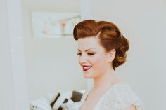 Red  haired bride wearing red lipstick.    Photography by 'Shutter Go Click'.