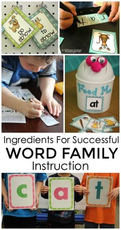 Great tips and activities for providing engaging activities for successful Word Family Instruction in your classroom.