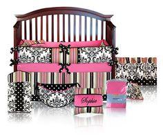 Sophia 5pc BABY GIRL Damask Crib Bedding Set  by sofiabedding, $279.00